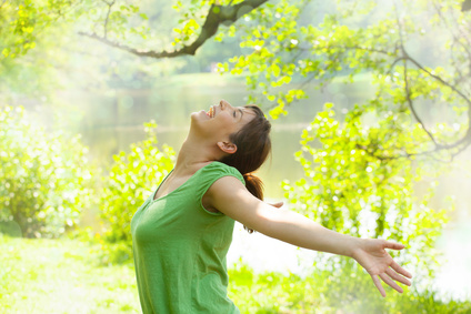free happy young woman in the sping time